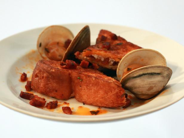 Mascarpone and Bacon Stuffed French Toast with Chorizo and Clams