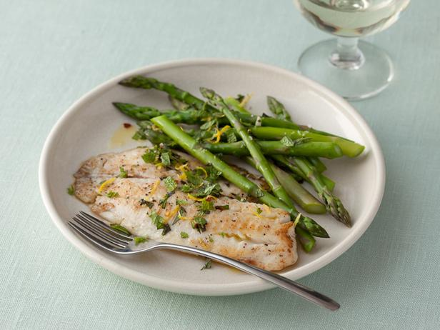 Seared Tilapia with Asparagus and Spicy Mint Gremolata