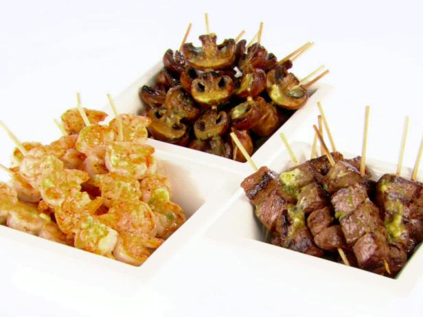 Shrimp and Beef Skewers with Soy and Scallion Butter