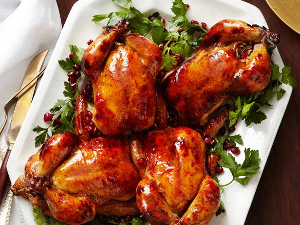 Glazed Cornish Hens With Pomegranate-Rice Stuffing