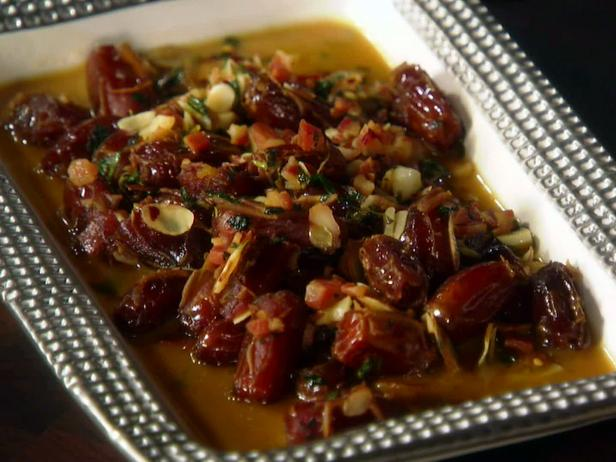 Roasted Dates with Pancetta, Almonds and Chile