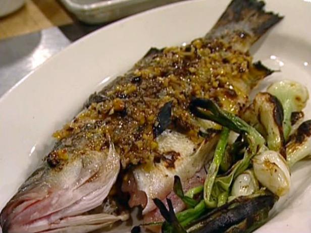 Wood-Roasted Striped Bass with Meyer Lemon and Olive Relish
