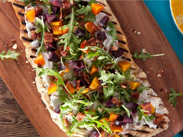 Beet, Bacon and Herbed Goat Cheese Flatbread