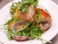 """A Bologna"" - Calamari, Scallops and Clams with Roasted Fingerlings and Arugula Salad"