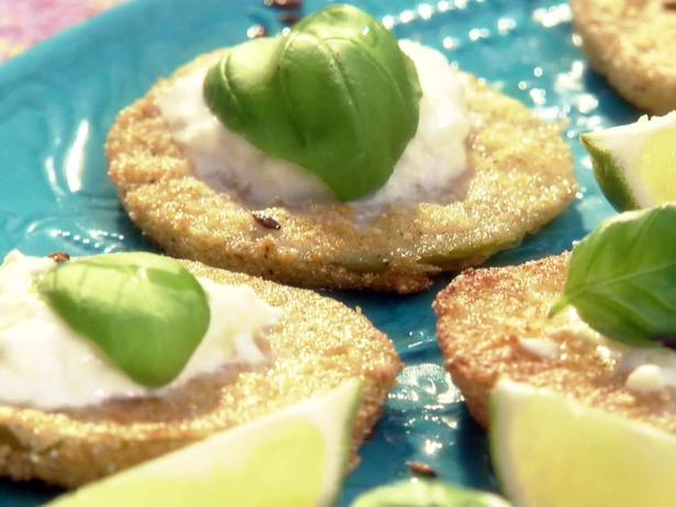 Fried Green Tomatillos with Burrata, Cumin and Basil