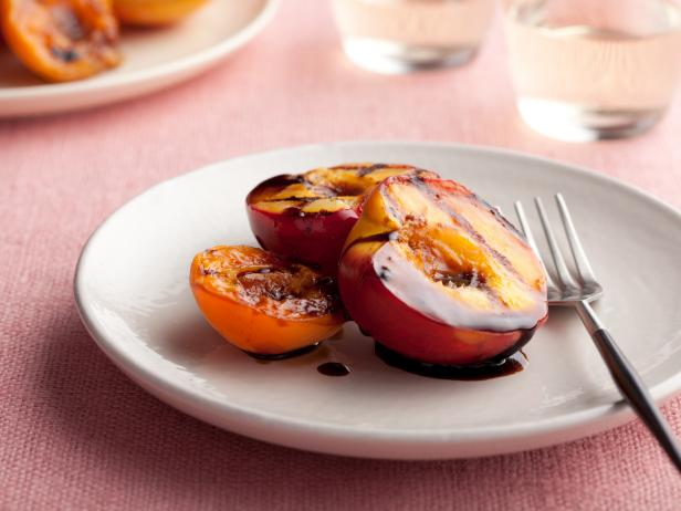 Grilled Stone Fruits with Balsamic and Black Pepper Syrup