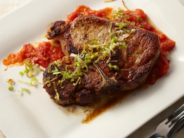 Pork Chops with Tomato Jam and Fried Leeks