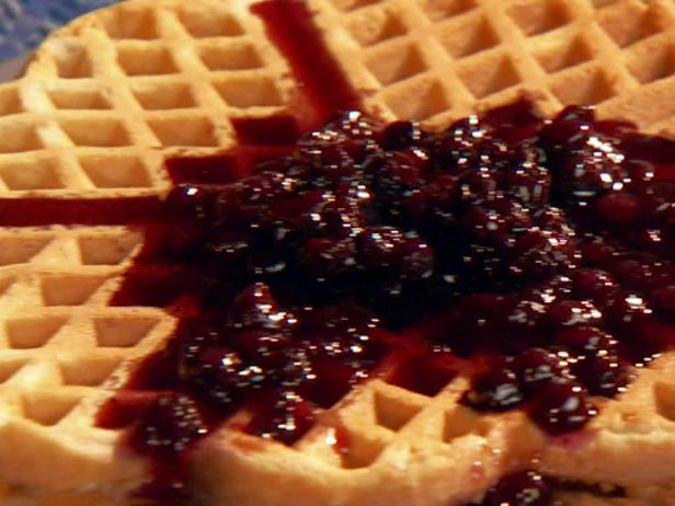 Cinnamon-Sugar Waffles with Blueberry Syrup