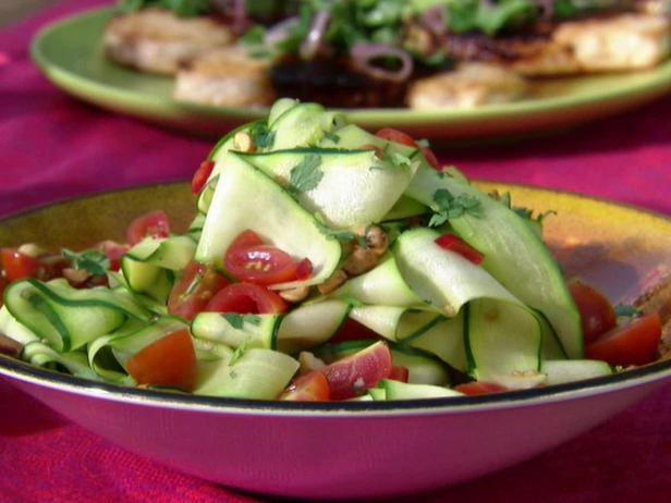 Zucchini Ribbon Salad with Lime Juice, Red Chile and Peanuts