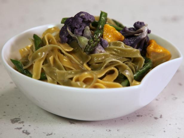 Garden-Style Straw and Hay Pasta with Bagna Cauda Sauce