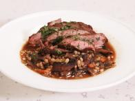 Sliced Steak and Mushroom Barley Soup