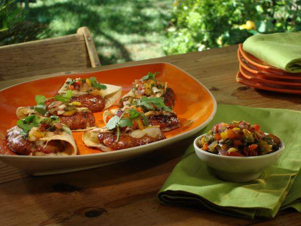 Grilled Hot and Sweet Sausage Tacos with Apricot-Jalapeno Glaze, Grilled Pepper and Red Onion Salsa