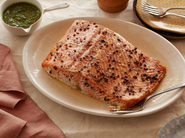 Slow Roasted Salmon with Sage and Parsley Pistou