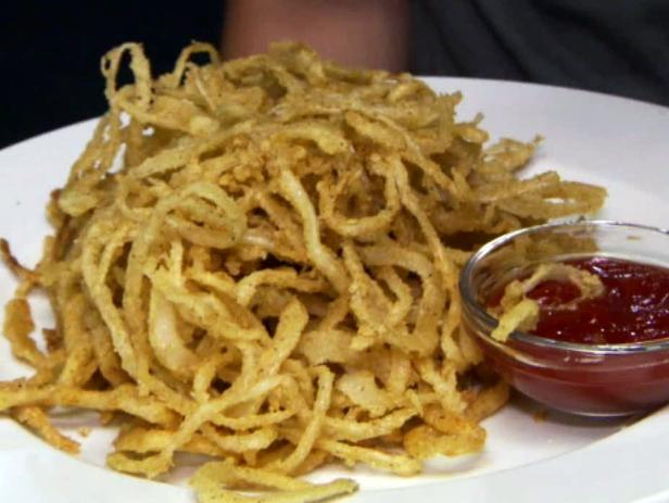 Crisp Onion Rings, Spiced Ketchup