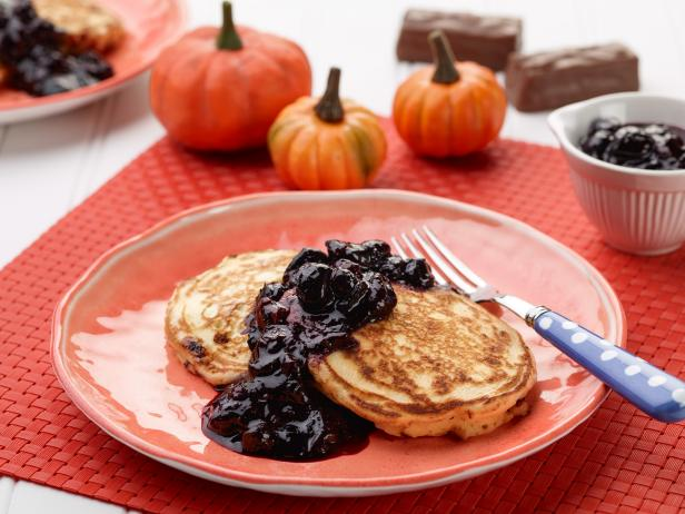 Sunny's Candy Bar Pancakes with Scary Blueberry Syrup