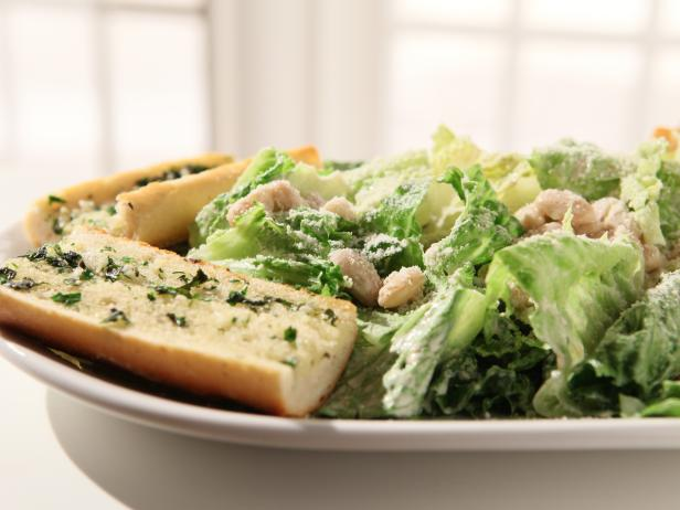 Simple White Bean Caesar with Herb Garlic Bread
