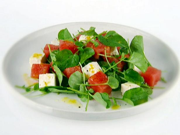 Watermelon With Watercress and Feta