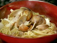 "Linguine with White Clam Sauce is one of Anne Burrell's favorite ""happy foods."" Get this simple recipe from Secrets of a Restaurant Chef on Food Network."