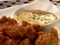 Hammed-Up Fritters with Manchego Cheese Sauce