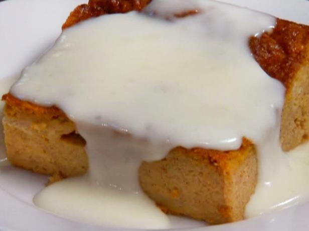 Pumpkin Bread Pudding with Rum Sauce
