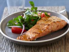 For a delicious go-to dinner, try Bobby Flay's Salmon with Brown Sugar and Mustard Glaze recipe from Food Network.