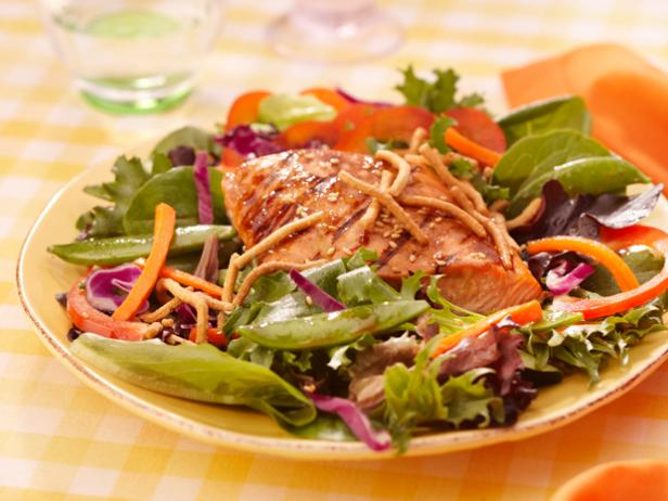 Grilled Salmon, Snap Pea and Spring Mix Salad with Chow Mein Noodles