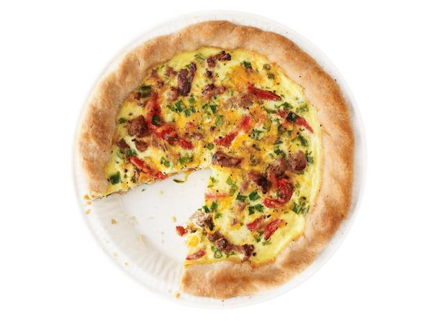 Roasted Pepper, Scallion and Sausage Quiche