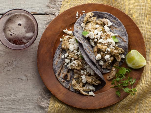 Shredded Chicken and Tomatillo Tacos with Queso Fresco