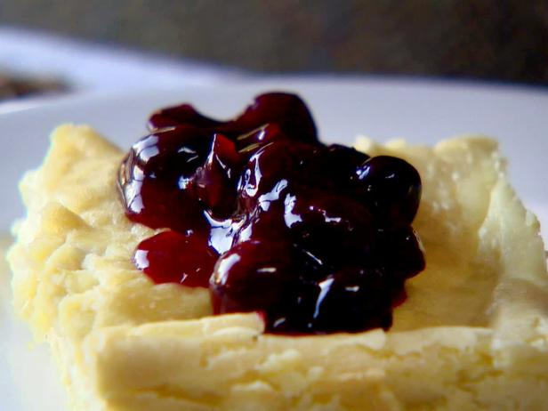Baked Blintzes with Fresh Blueberry Sauce