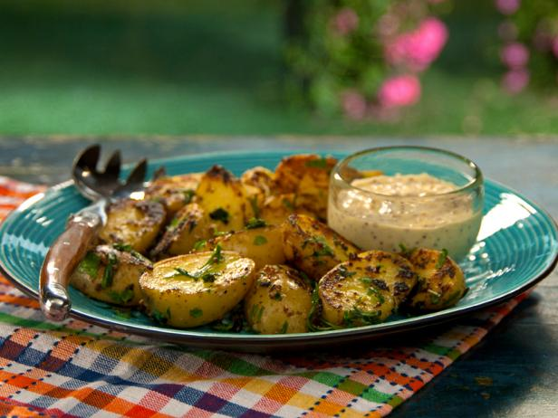 Mustard Aioli Grilled Potatoes with Fine Herbs