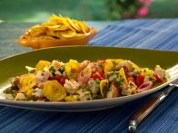 Ceviche (Shrimp and Grouper) with Serrano Chiles, Mango, Smoked Tomatoes, Crispy Plantain Chips
