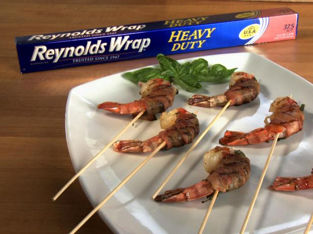 Bacon, Shrimp and Basil Skewers