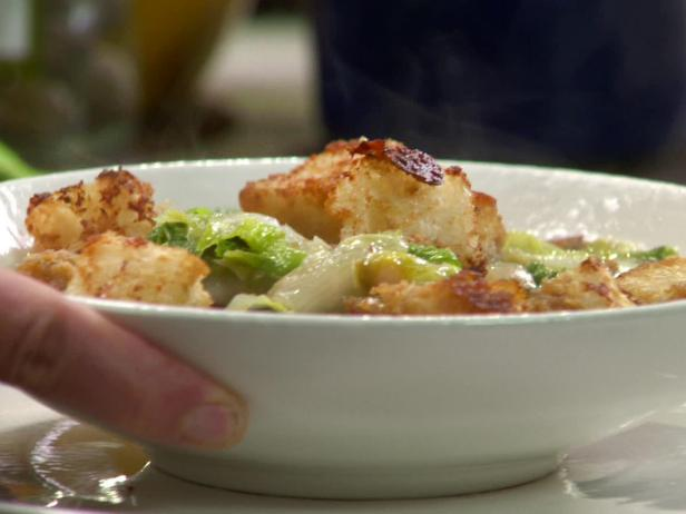 Escarole Soup with Caesar Croutons