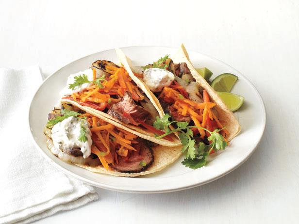 Carne Asada Tacos With Carrot-Pepper Slaw