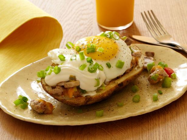 Stuffed Potato Skin Skillet Hash with Fried Eggs