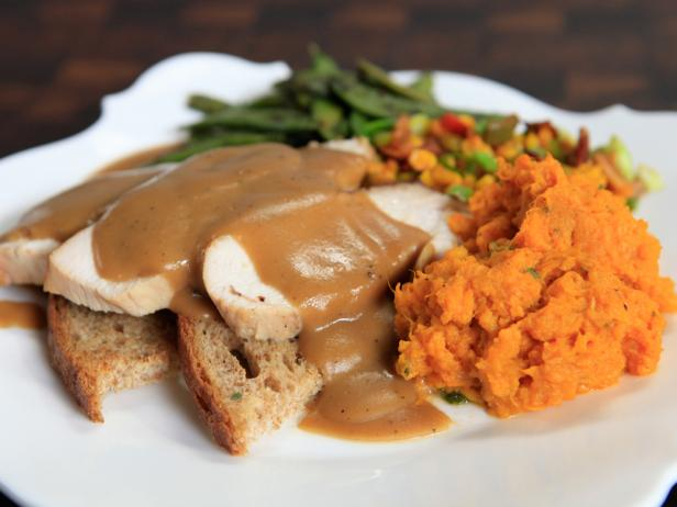 Soy and Cider Brined Turkey on Toast Points with Maple-Soy Gravy