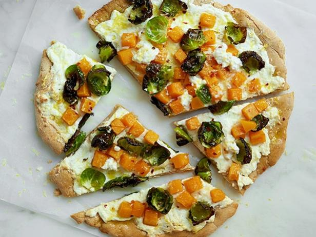 Whole-Wheat Brussels Sprout, Squash and Ricotta Pizza