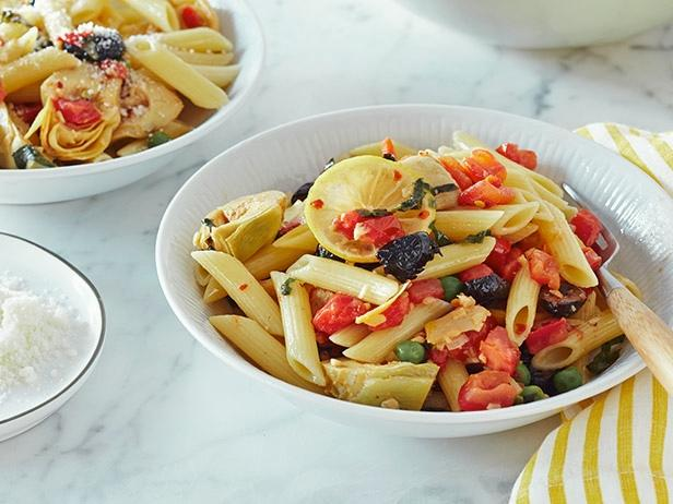 Penne with Baby Artichokes, Black Olives and Peas