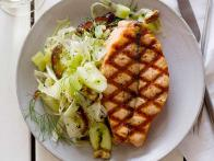 Grilled Salmon with Smashed Cucumber-Date Salad