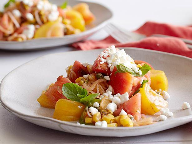 Tomato and Grilled Corn Salad with Almond Vinaigrette