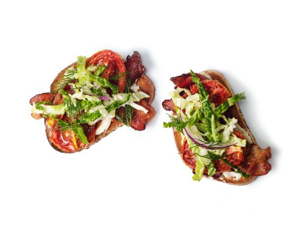 Open-Faced Roasted Tomato BLTs