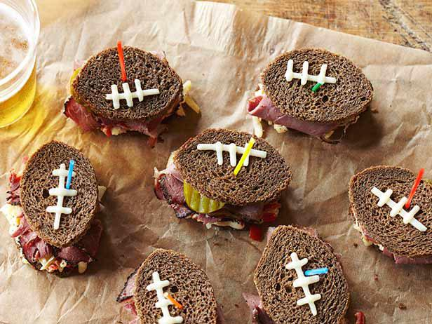 Pastrami Football Finger Sandwiches