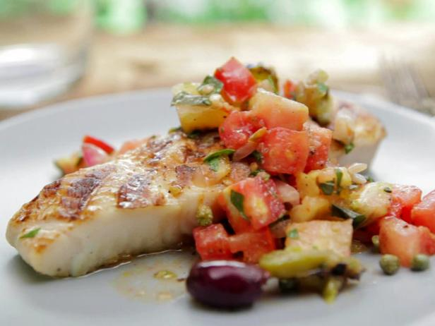 Basil Rubbed Halibut with Puttanesca Relish