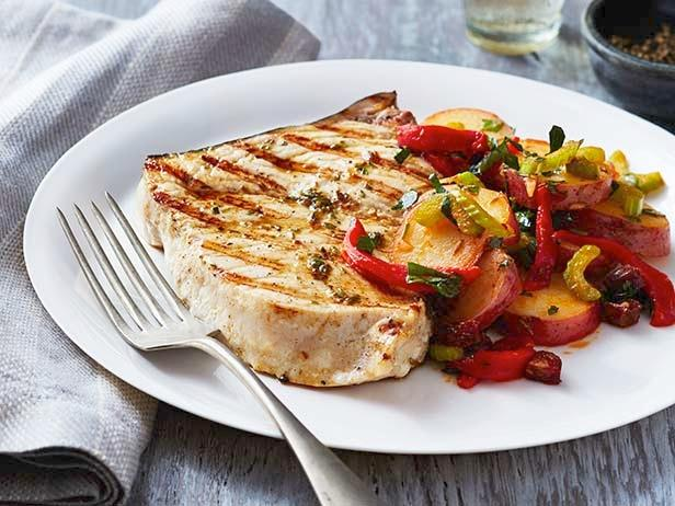 Grilled Swordfish with Potato-Chorizo Salad Recipe | Food Network ...