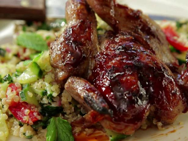 Grilled Quail with Pomegranate-Orange BBQ Sauce and Tabouli with Quinoa and Shredded Kale