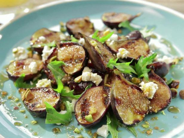 Honey Glazed Grilled Fig Salad with Feta, Pistachio and Mizuna