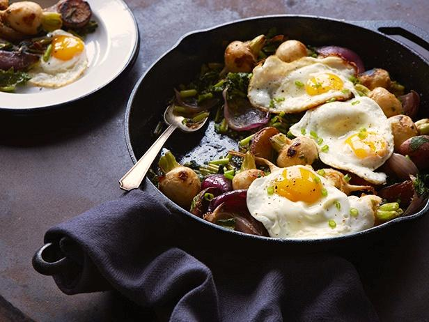 Roasted Baby Turnips with Miso Butter and Fried Eggs