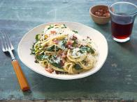 Spaghetti with Sauteed Collards and Bacon