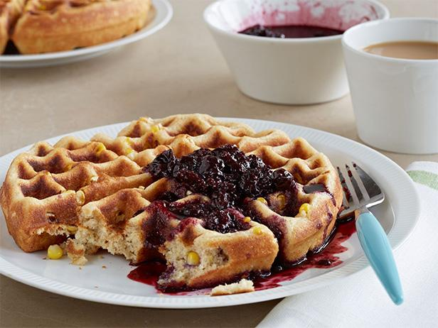 Buttermilk Corn Waffle with Berry Syrup