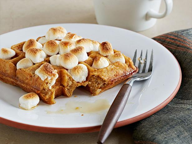Sweet Potato Waffles with Marshmallows